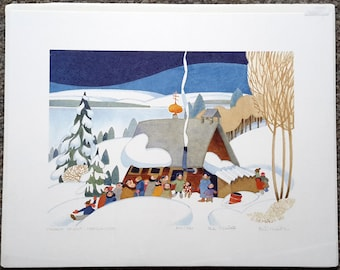 "Alaskan Artist Rie Munoz ""Church Is Out, Nondalton"" Limited Edition Print"