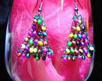 Multicolor crochet wooden beads earrings