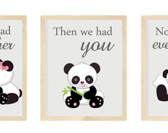 Nursery Art Trio, Panda Nursery Prints, Panda Nursery, Set of 3 8x10, First we had each other