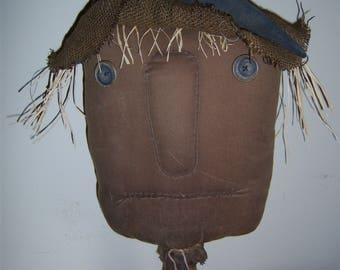 Primitive Handcrafted Fall Harvest Halloween Scarecrow Shelf Sitter Tuck