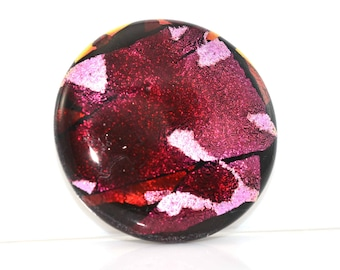 Dichroic Purple and Pink Handmade Glass Lampwork Glass Cabochon