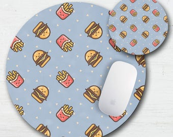 Burger And Fry Mouse Pad Coaster Set - Kawaii Fast Food - Cute Food Decor - Back To School - Hamburger French Fries - Cartoon Food - Office