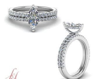 Petite Engagement Ring With Matching Band 1.40 Carat Marquise Cut GIA Certified Diamond