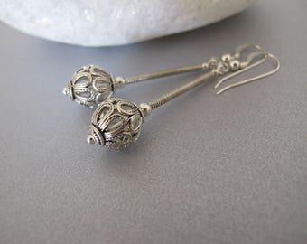 Filigree silver earrings, Bohemian earrings, Yemenite earrings, Israel jewelry, Ethnic earrings, everyday earrings, silver jewelry
