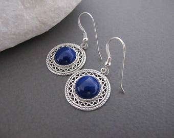 Lapis Lazuli Earrings, Silver lapis earrings, Lapis jewelry, Filigree earrings, Israeli jewelry, Yemenite jewelry, blue lapis earrings