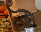 Wooden wall coffee grinder - cast iron mill - plain wood