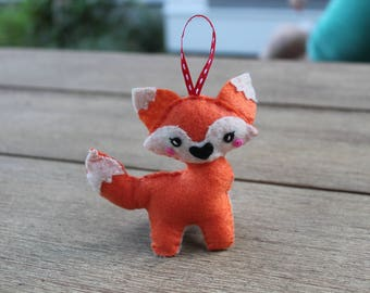 Handmade Adorable Felt Fox // Ornament // Free Standing // 3D Felt Fox // Christmas Ornament // Felt Foxy // Felt Animals
