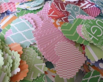 150 Assorted scalloped edged paper hearts