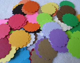 108 Scalloped edged cardstock circles, for embellishing, card making, paper crafts, scrapbooking
