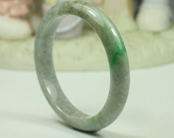 Jadeite Jade Bangle - 58.31mm Grey with Vivid Green