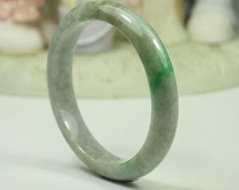 Jadeite Jade Bangle - 58.31mm Grey with Vivid Green