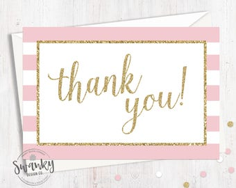 Printable Pink and Gold Thank You Card, Girl Baby Shower, Postcard Style Thank You, Gold Glitter, 4x6 Postcard Thank You, Instant Download