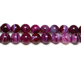 10 x pink natural Agate beads with 10mm
