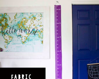 Purple Fabric Growth Chart - Wall Ruler - Fabric Wall Ruler