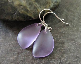Purple Sea Glass Drop Earrings- Sterling Silver, 14K Gold Filled or Rose Gold Fill- Seaglass Beach Glass Jewelry- Ocean Lover Gift for Mom