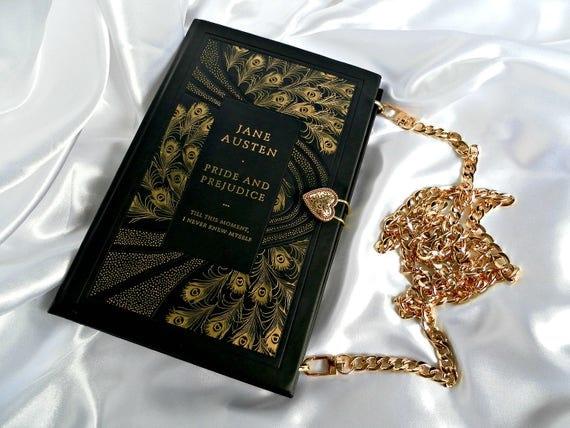 Book Cover Black And Gold : Pride and prejudice by jane austen book purse handbag black