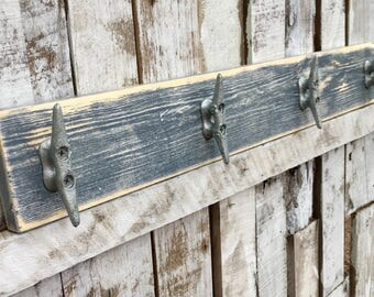 Nautical Boat Cleat Coat Rack, Distressed Dusky Blue, Towel Rack, Book Bag Rack, Hat Rack, or Key Rack with Boat Cleats and Reclaimed Wood