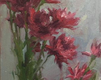 Romping in red Original contemporary oil painting by Bhavani Krishnan Red Maroon flowers still life Wall decor Small Daily painting 8x6 Sale