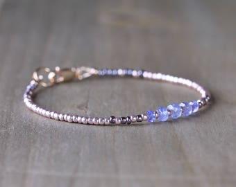 Delicate Tanzanite Bracelet, Beaded Tanzanite Bracelet, Rose Gold Tone Seed Bead Bracelet, Purple Gemstone Bracelet, Tanzanite Jewelry