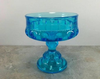 Vintage Aqua Blue Pedestal Glass Bowl - Glass Compote Dish - Thumbprint Kings Crown Style