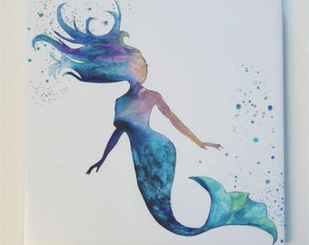 Mermaid Art Tile Trivet Origianl Watercolor Decorative Tile