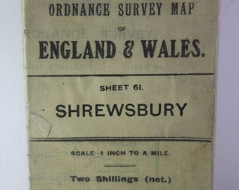 Scarce vintage -1913 Ordnance survey map England and Wales Sheet 61 Shrewsbury scale 1 inch to a mile.  Two shillings T. Fisher Unwin ltd.