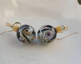 Purple Murano Glass  Earrings