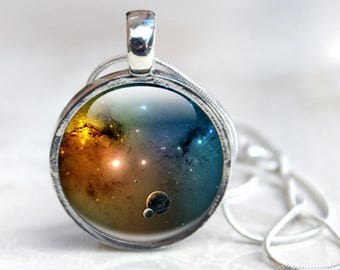 Galaxy Necklace - Galaxy Necklace Pendant - Glass Pendant Necklace - Galaxy Jewelry (NSE1)