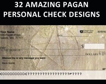 32 DESIGNS for Pagan Personal CHECKS - Faerie, Satanic, Mermaid, MORE!