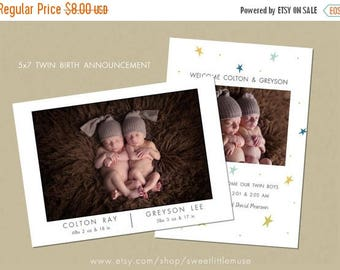 ON SALE Twins birth announcement - twin birth announcement template - instant download
