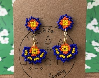 Bold Blue/Orange/Yellow Beaded Huichol Inspired Abanico Earrings