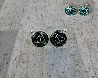 Deathly Hallows Harry Potter Inspired Small Silver Glow In The Dark Picture Cufflinks