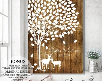 Guest Book Wedding Guest Book Alternative, Wedding Gift Wedding Canvas, Rustic Wedding Tree Guest Book Tree, Wood Wedding Signs, Bridal Gift