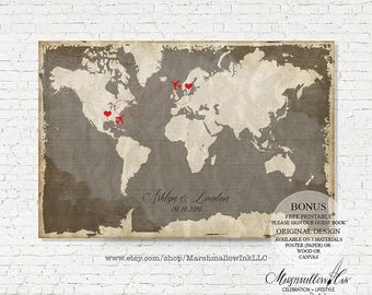 Wedding Guest Book, Wedding Map Custom Guest Book Sign, Wedding Guest Book Alternative, Travel Wedding Canvas, Vintage Wedding Guestbook Map