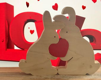 Bunnies in Love, bunny puzzle, heart, Valentine's Day, Love, Toy, Wood Sculpture