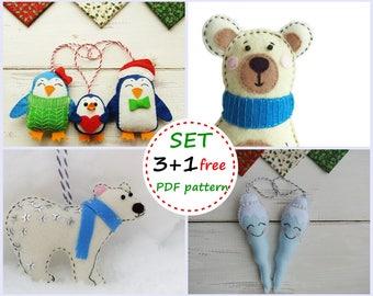 Felt Сhristmas Ornament Patterns, Felt Patterns, Felt Penguin Family, Felt White Bear, Felt Polar Bear, Felt Icicle, Felt Christmas Ornament
