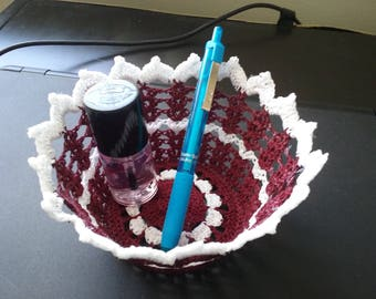 Mini basket--in burgundy and white