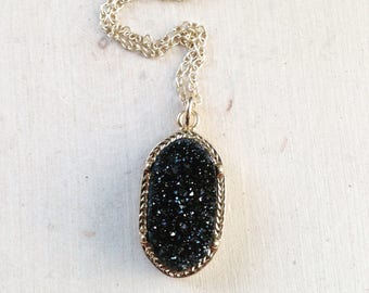 Gold Black Druzy Necklace: Black Druzy Necklace, Drusy Necklace, Druze Necklace, Black, Organic Shape Geodes - Gold Filled