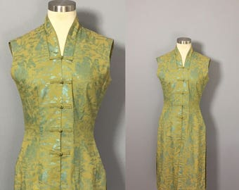 Vintage Alfred Shaheen Dress / Green Tunic Dress / Vintage Hawaiian Dress / Tea Timer Shaheen Tunic Top / 1950s Shaheen Dress