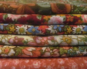Country Floral 6-Piece Fat Quarter Bundle Cotton Quilting Fabric #5  Free Shipping