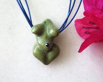 Grass Green Cobalt Blue Swarovski Venus Goddess Necklace