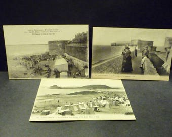 3 Antique French Photo Postcards- Saint Malo early 1900's black n white