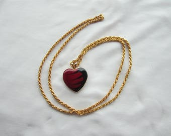 Vintage Valentine Heart Pendant Necklace on Gold Metal Chain
