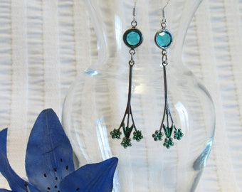 Turquoise Crystal Dangle Earrings - New - Never Worn - 1980's - Absolutely Lovely And Light Weight - Sterling Silver Hooks - FREE SHIPPING.