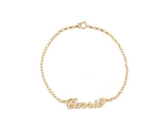 Name Necklace Chain Bracelet 18K Gold Plated Personalized Name Chain Select any name to personalize