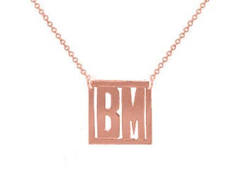 Block Initial necklace - 1 inch personalize  gold plated 18k on .925 silver