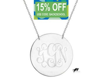 """Personalized Disc necklace - 5/8"""" inch personalize silver monogram necklace sterling silver .925 silver"""