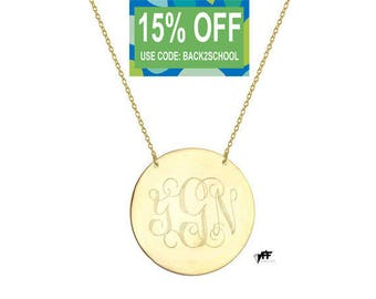 Monogram necklace - 1 inch personalize gold Disc monogram necklace gold plated 18k on .925 silver