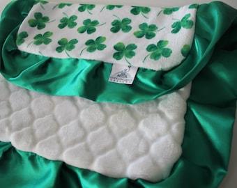 SPECIALTY PRINT Four Leaf Clover Saint Patrick's Day LOVIE spa Cuddle Trellis and Kelly Green Satin Trim - Holiday, Lovie, Baby Blanket