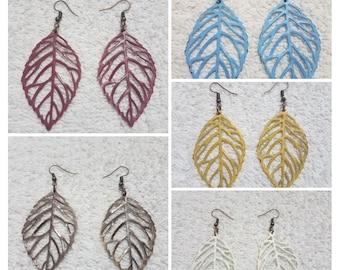 Painted Filigree Leaf Earrings